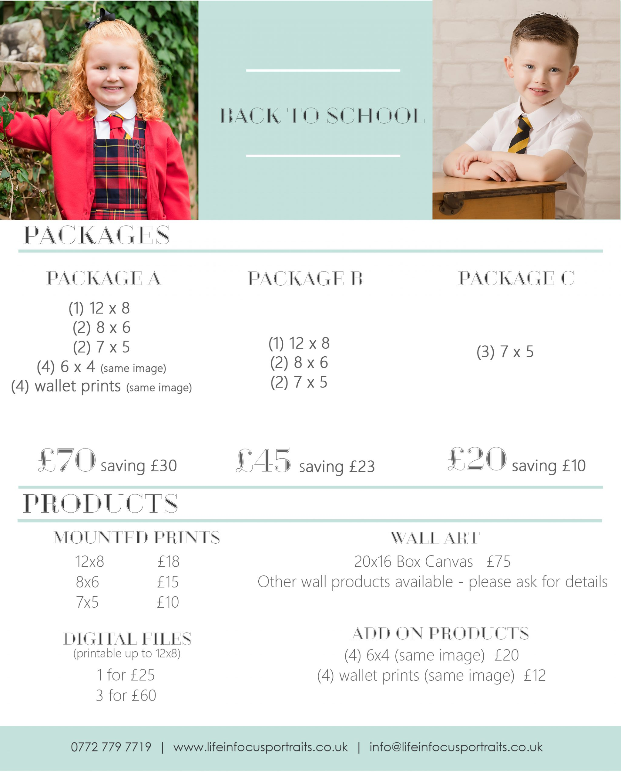 Back to school photoshoots Life in Focus Portraits child photographer Rhu Helensburgh