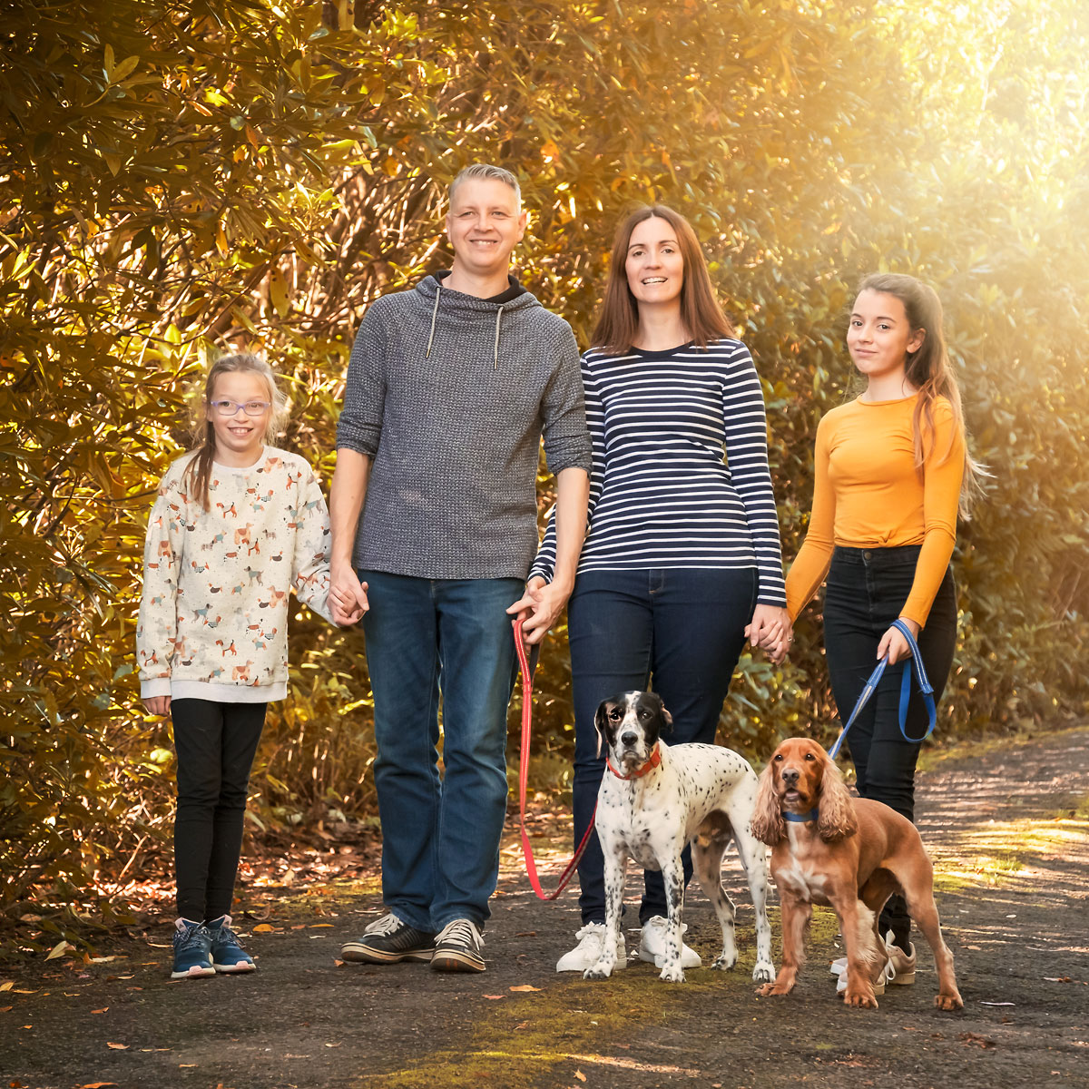 outdoor family portrait photograph with dogs life in focus portraits helensburgh family photographer