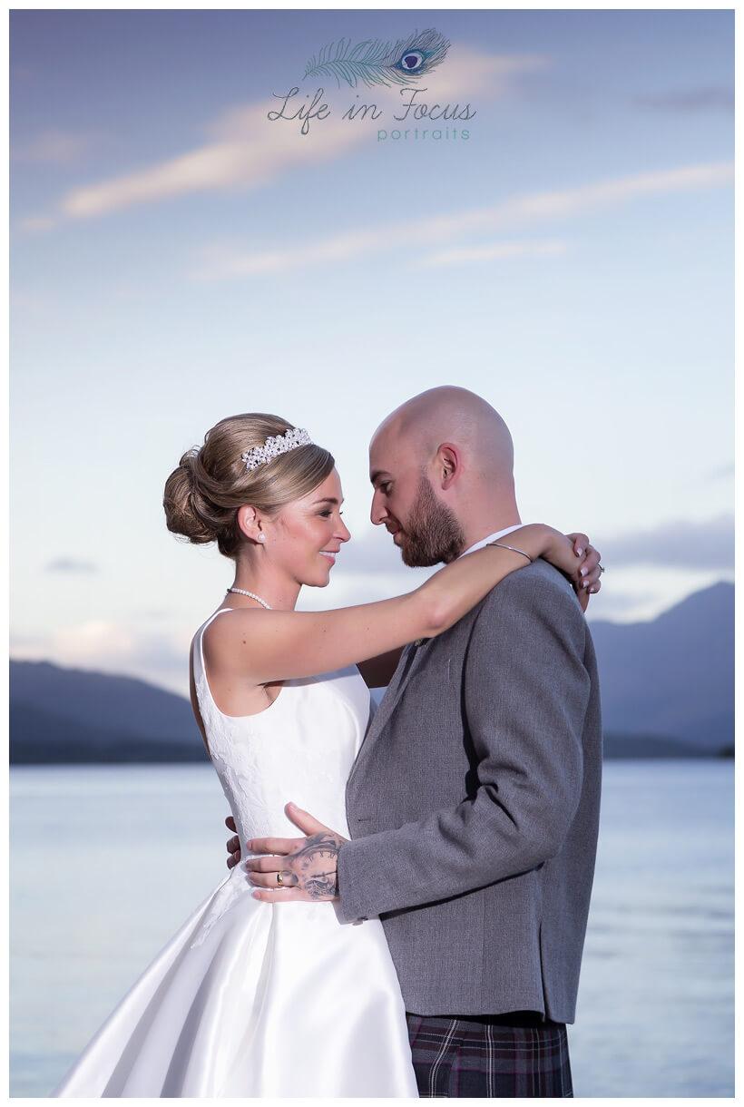 Bride and Groom Lochside wedding photo Life in Focus Portraits wedding photographer Loch Lomond and the Trossachs