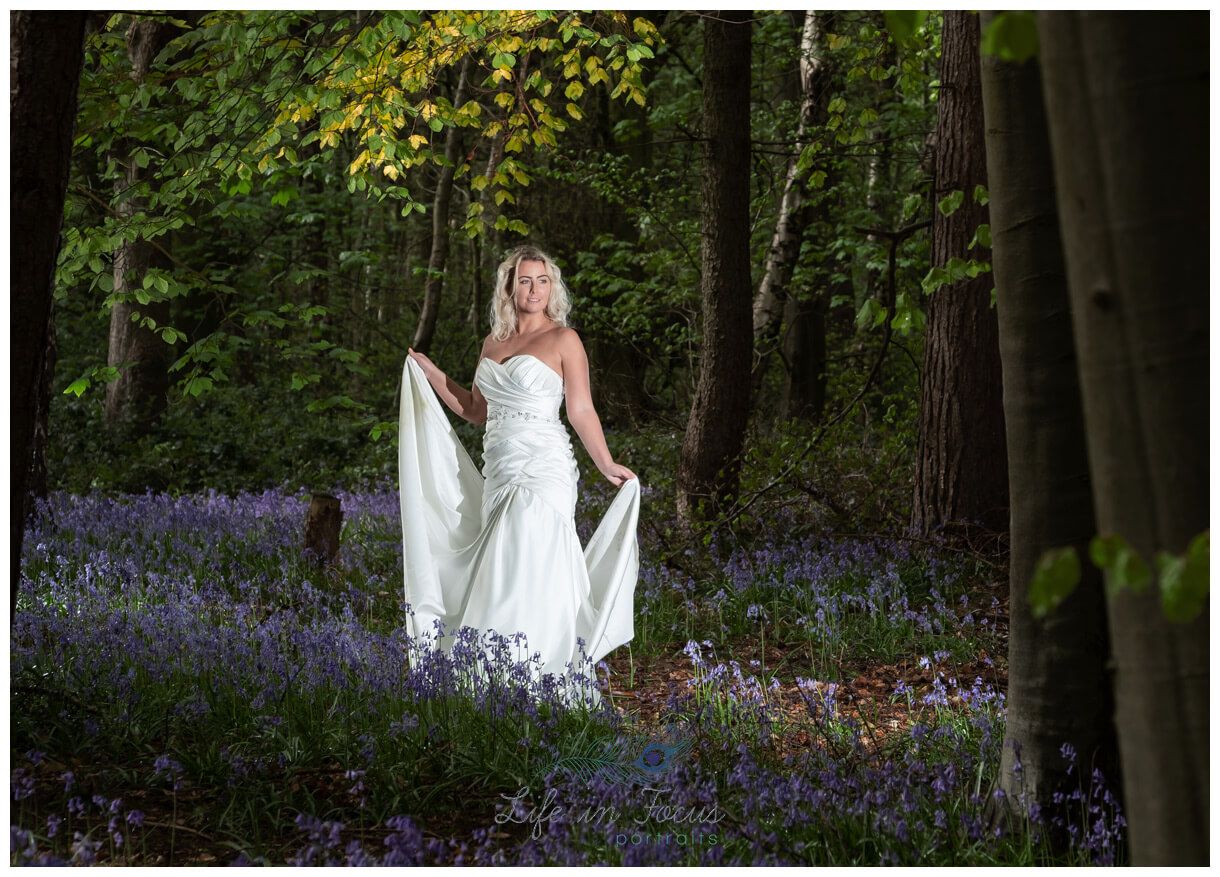Bride in bluebell woodland Helensburgh Life in Focus Portraits wedding photography Loch Lomond