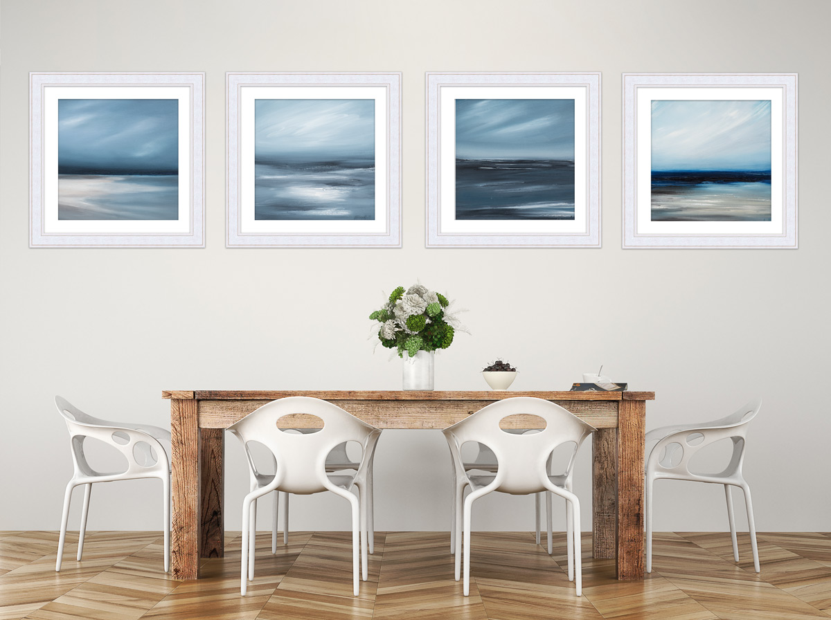 Collection of 4 seascape paintings of Berneray Karlyn MArshall Artist Helensburgh Art Hub photoraphed by Life in Focus Portraits photography independent artists Argyll & Bute
