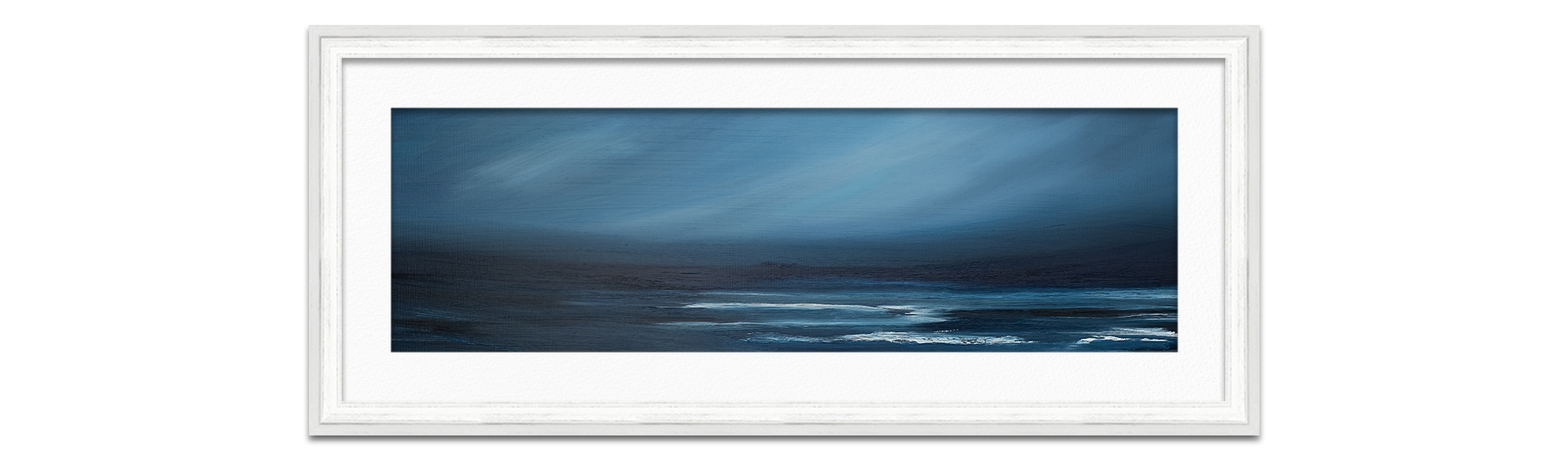 framed deep blue seascape painting by Karlyn Marshall Artist Helensburgh Art Hub photographed by Life in Focus Portraits product photography for independent crafters Helensburgh Loch Lomond