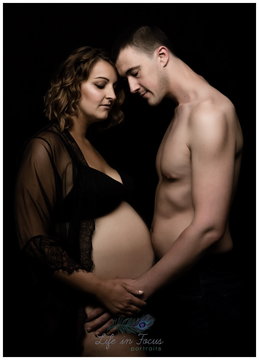 Maternity photo of expectant couple Life in Focus Portraits studio bump photoshoots Rhu Helensburgh