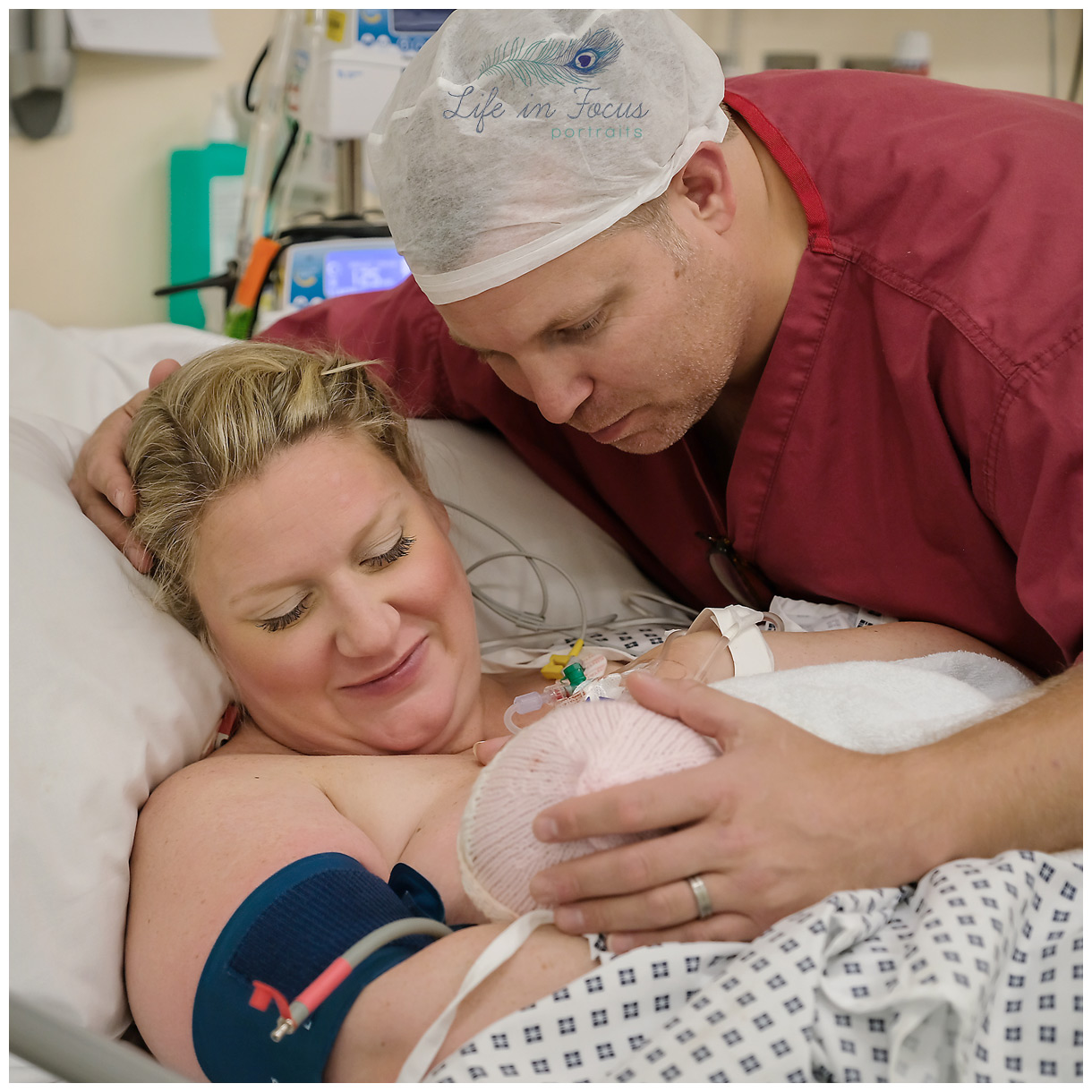 New parents cradling newborn after c-section delivery Life in Focus Portraits birth photographer Glasgow hospital