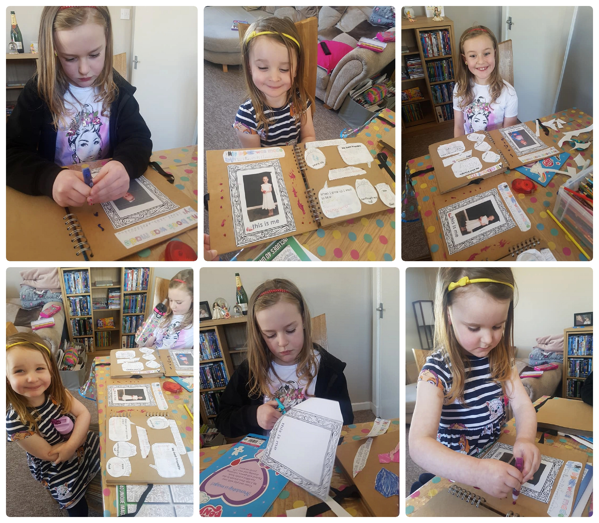Sisters completing 2020 Time Capsule booklet Covid-19 coronavirus lockdown childrens activity book Life in Focus Portraits child photography studio Rhu Helensburgh