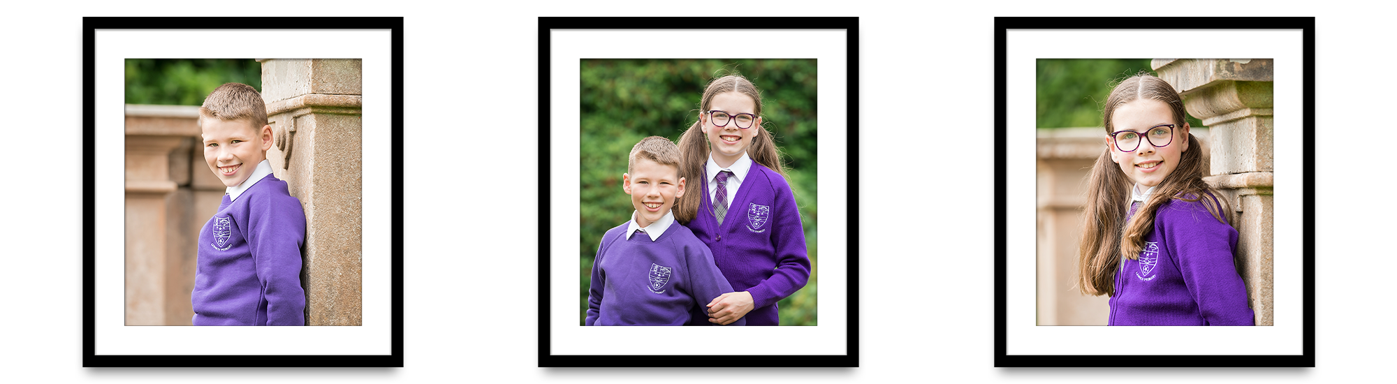 framed school photos brother and sister siblings Lennox Primary School Alexandria Life in Focus Portraits school photography West Dunbartonshire