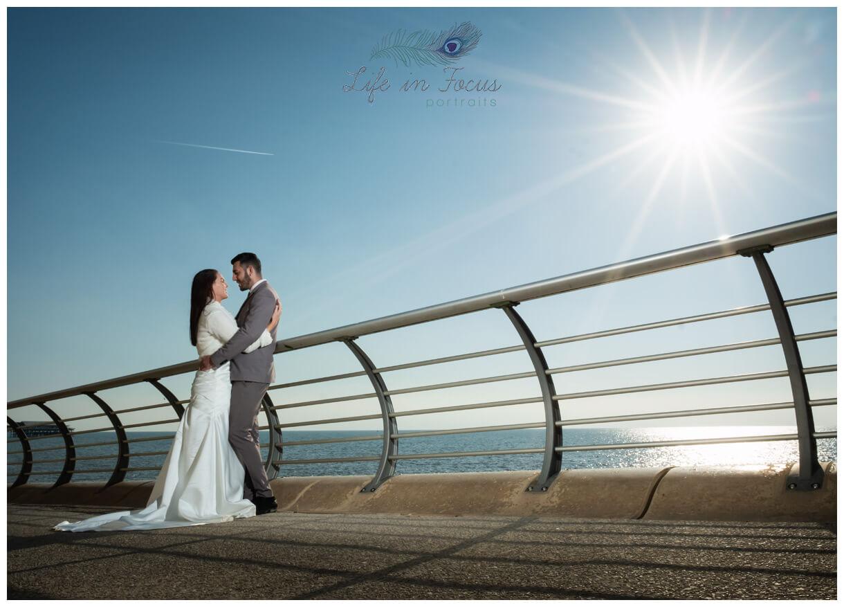 Seaside wedding photo of bride and groom Life in Focus Portraits wedding photographer west coast Scotland