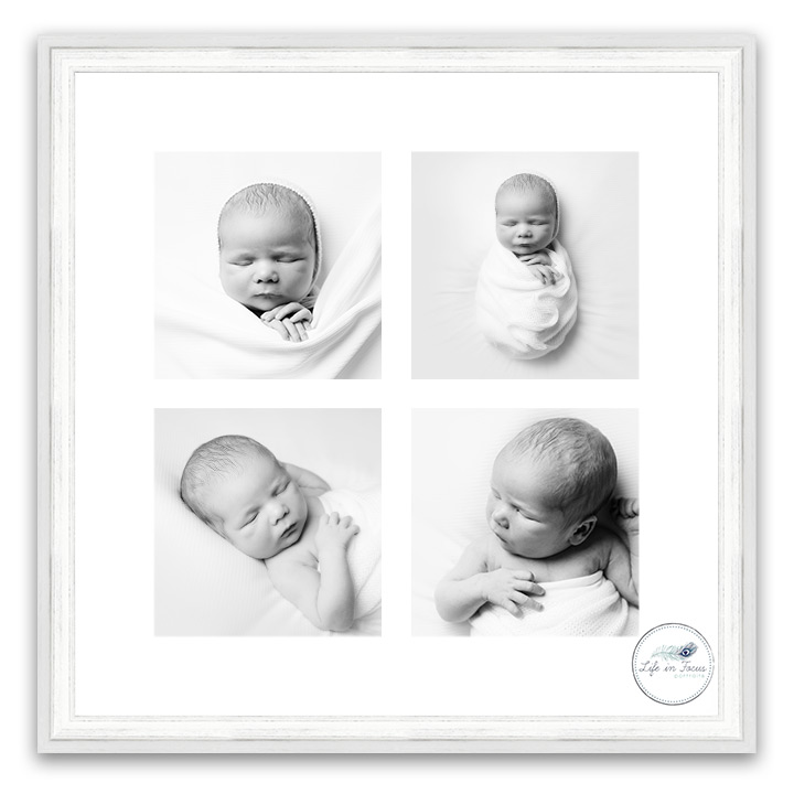 Framed black and white photos of newborn baby Life in Focus Portraits Simply Baby Newborn photography