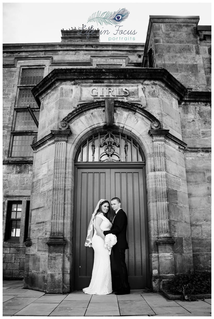 black and white photo of bride and groom Helensburgh Civic Centre Life in Focus Portraits wedding photographer Rhu Argyll and Bute