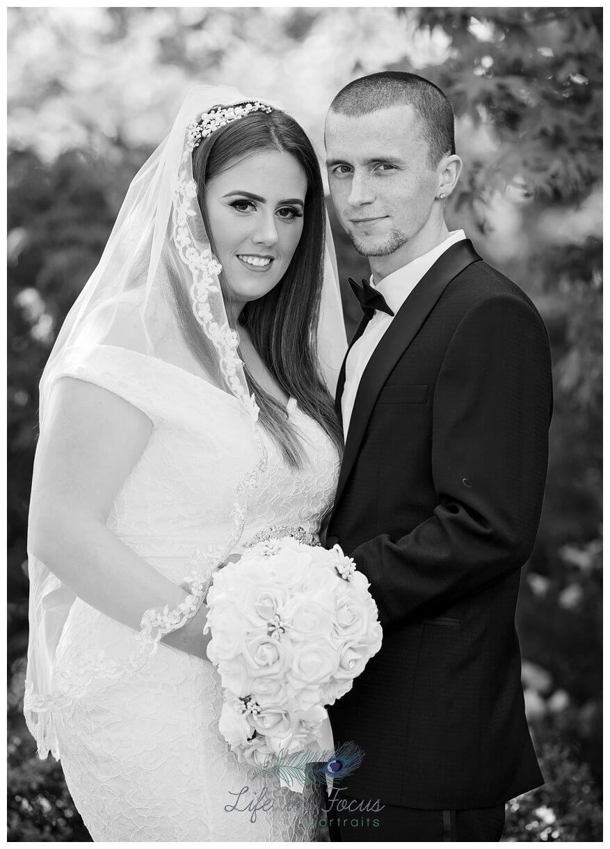 black and white wedding photo bride and groom Dumbuck House Hotel wedding Life in Focus Portraits wedding photography Dumbarton