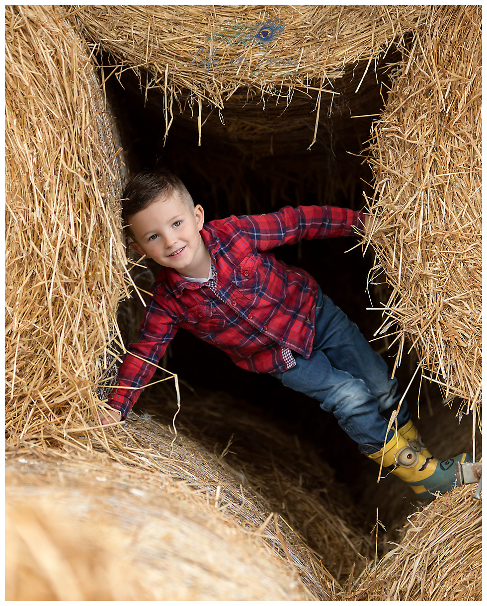 boy playing in haybales on farm Life in Focus Portraits child photographer Luss Loch Lomond