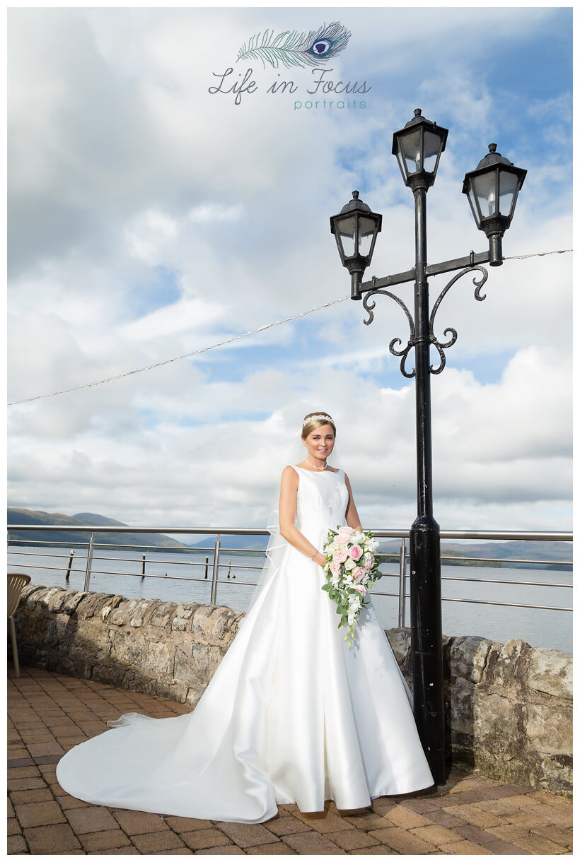 bride with bouquet Duck Bay Hotel Loch Lomond Life in Focus Portraits wedding photographer Helensburgh Argyll and Bute