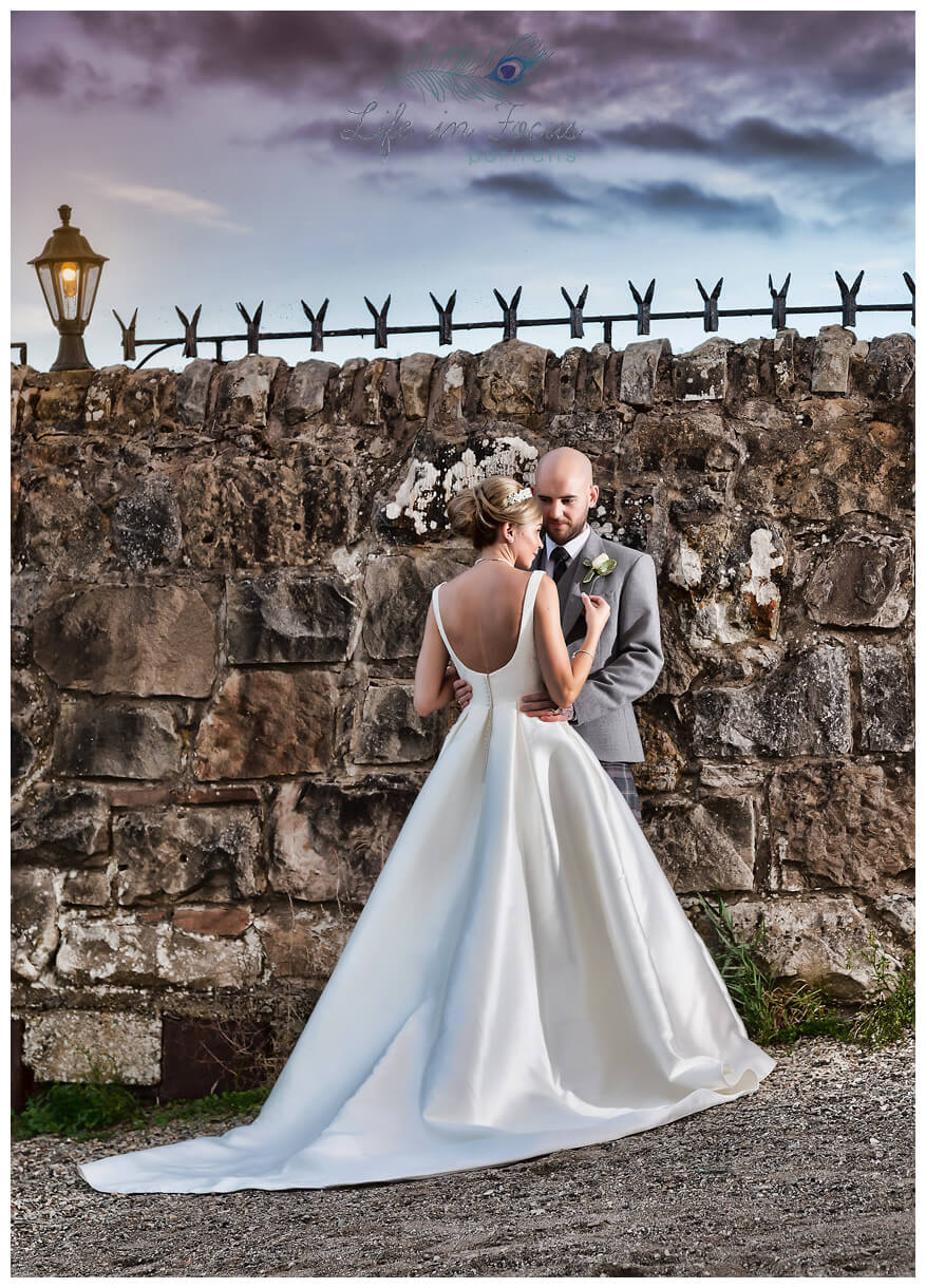 newly married couple at sunset Duck Bay Hotel Loch Lomond Life in Focus Portraits wedding photographer Rhu Helensburgh