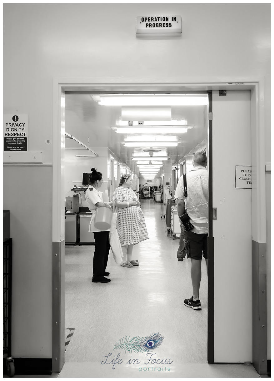 pregnant mum waiting to go into theatre for caesarian section birth Life in Focus Portraits helensburgh birth photographer Argyll and Bute