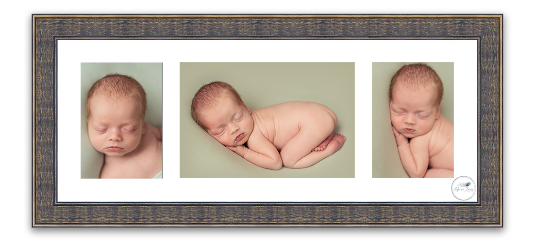 framed wall art triple aperture newborn baby photos Life in Focus Portraits newborn baby photographer Helensburgh