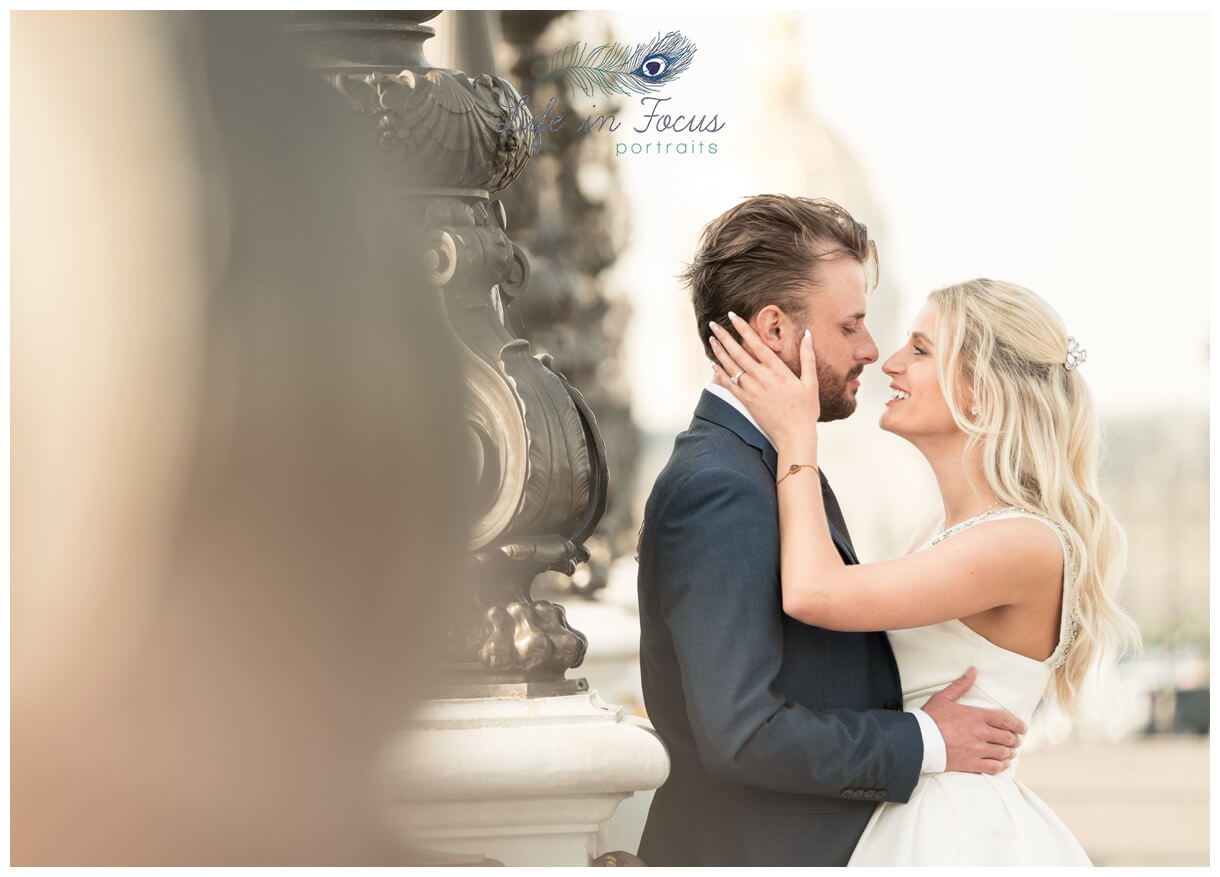 wedding photo bride and groom looking to eachother intimately Life in Focus Potraits wedding photographer Helensburgh Loch Lomond