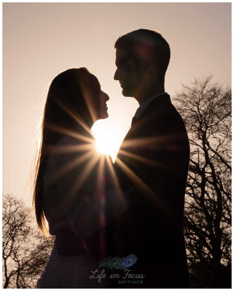 wedding photo bride and groom silhouette Rhu sunset Life in Focus Portraits wedding photographer Helensburgh Argyll and Bute