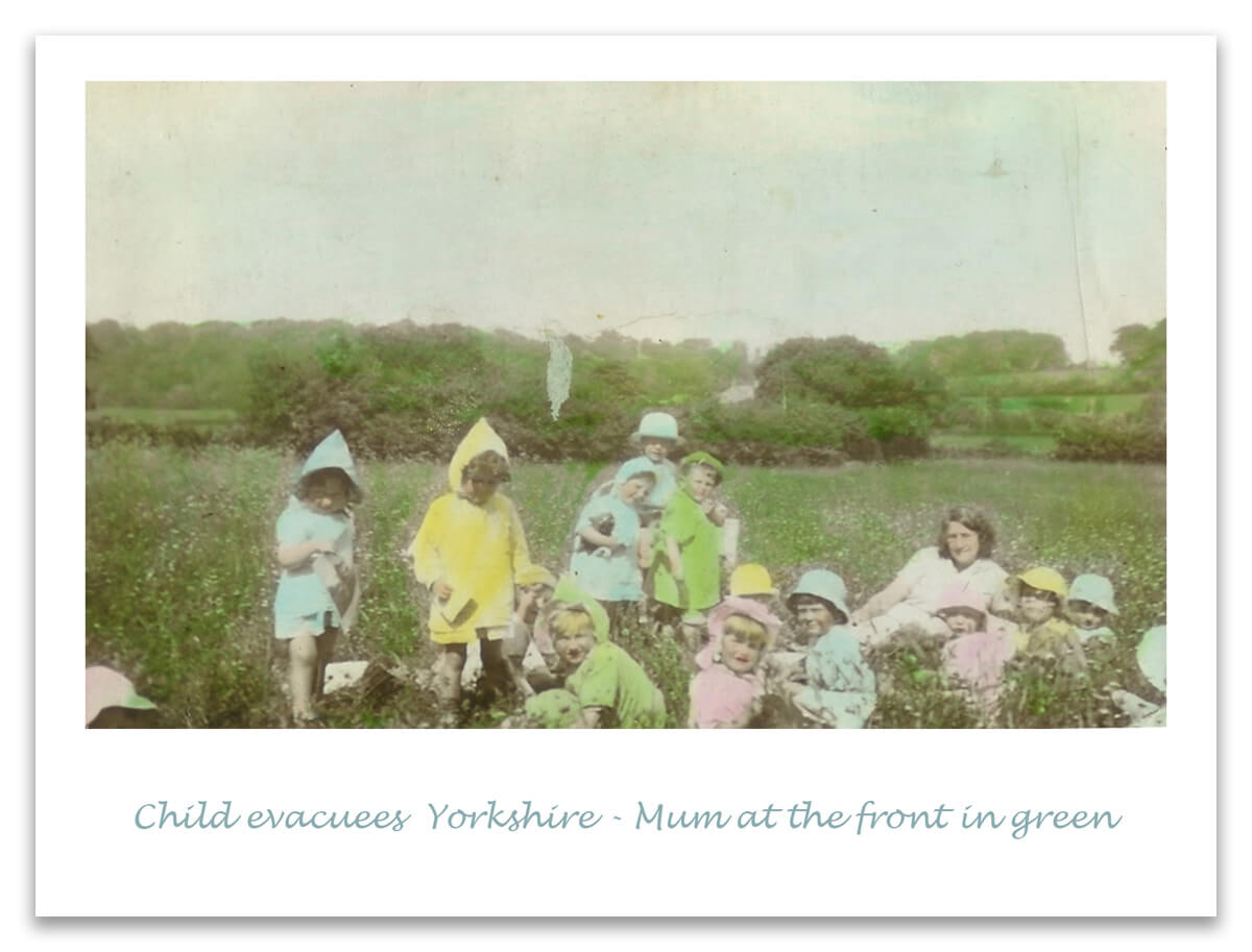 Coloured photo of children evacuated in yourkshire during world war 2