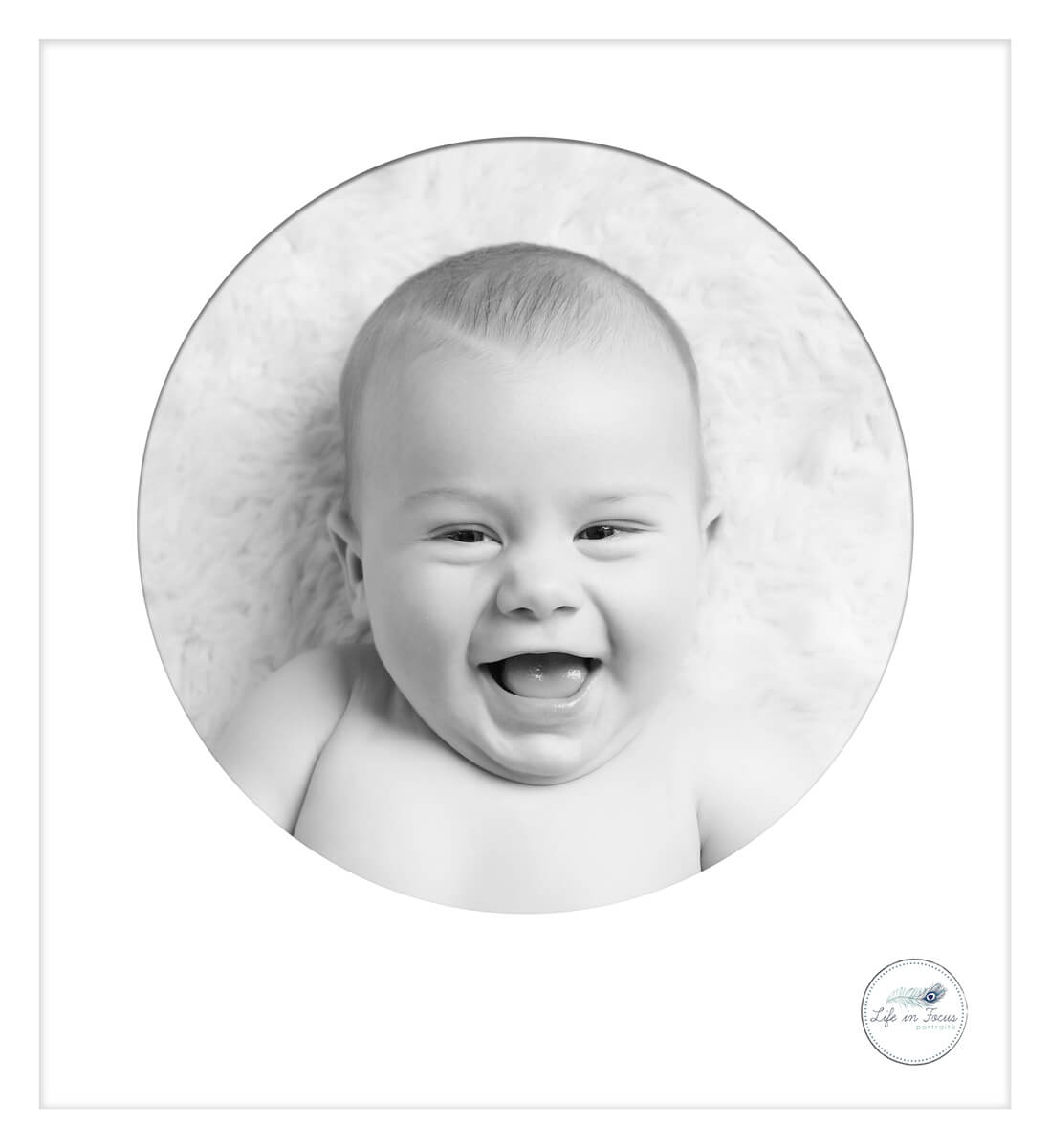 Framed black and white photo of baby Life in Focus Portraits Not so Newborn baby photoshoots covid 19 lockdown babies Rhu Helensburgh Alexandria Cardross