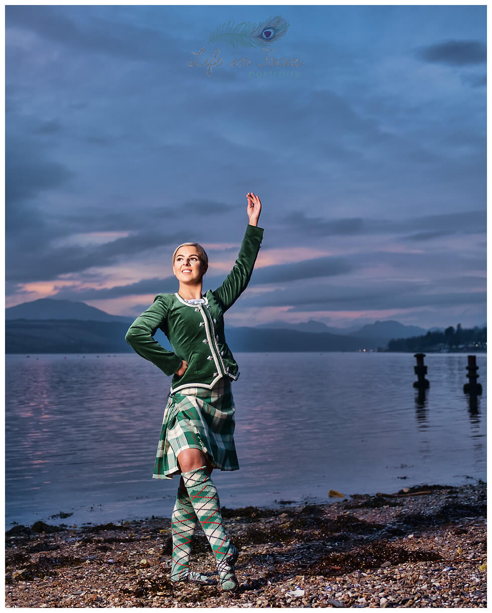 Highland dancer in kilt by loch after sunset Life in Focus Portraits dance photographer Loch Lomond