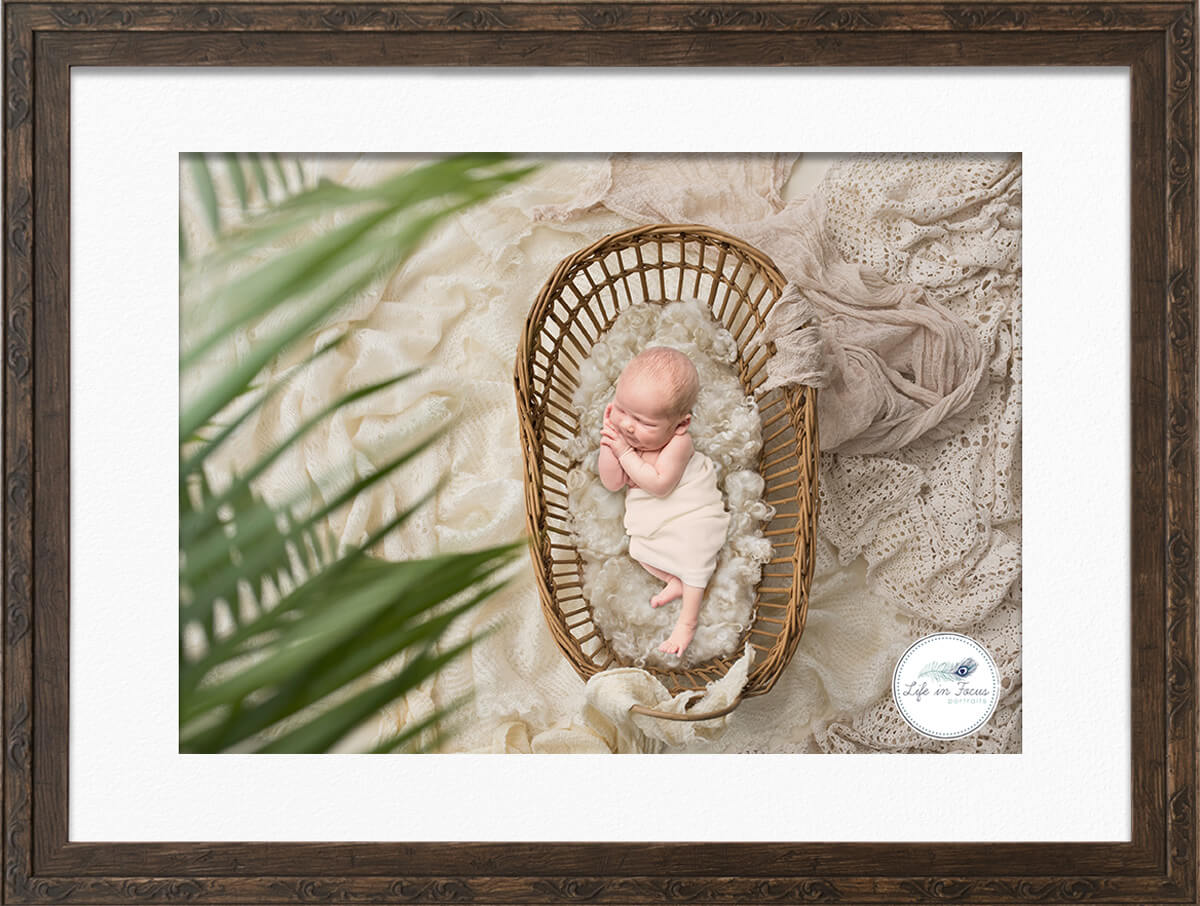 Newborn baby photo on digital background in basket Life in Focus Portraits Newborn baby photographer Rhu Helensburgh Cardross