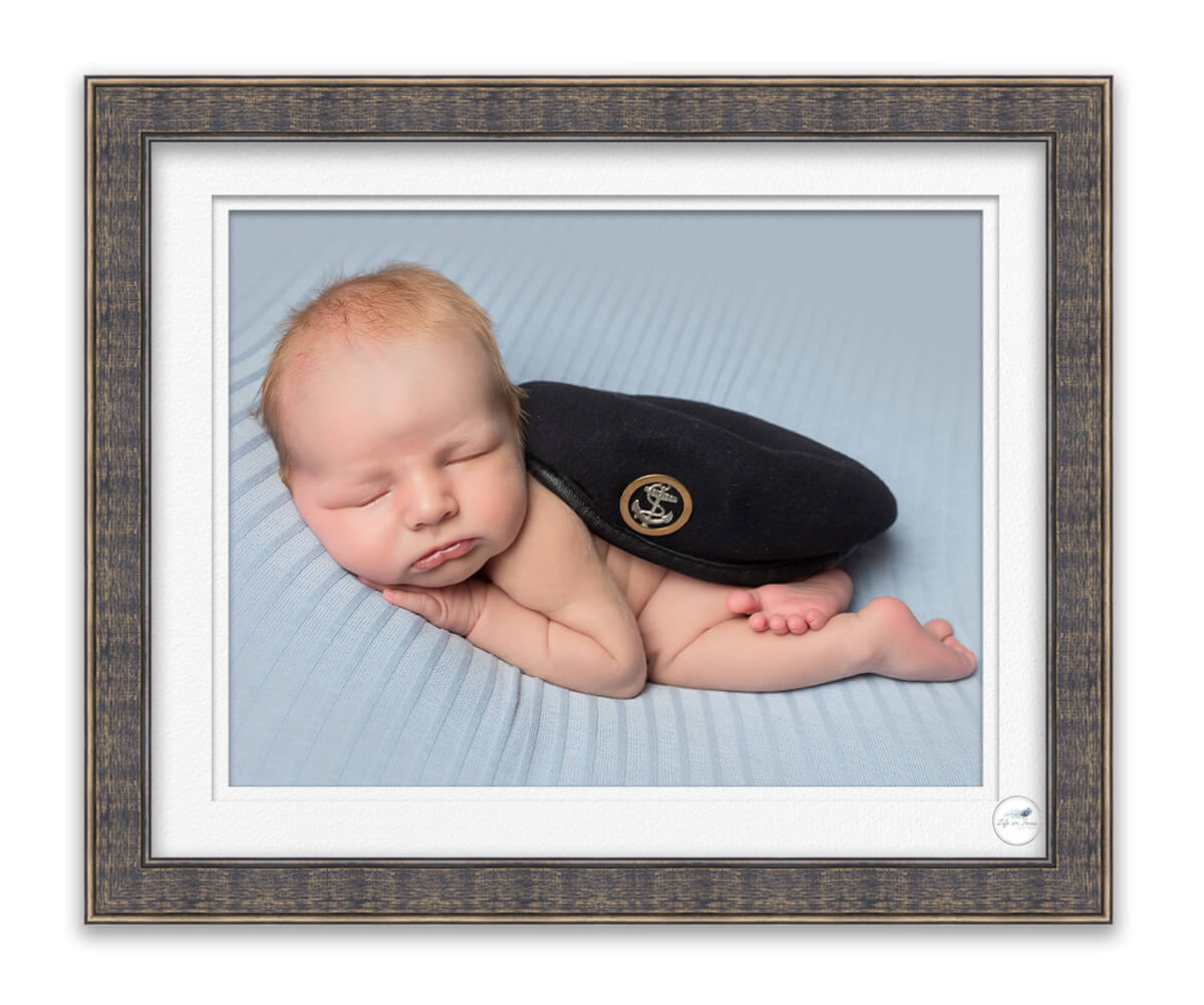 Royal Navy Submariner baby with beret Life in Focus Portraits newborn baby photoshoots Rhu Helensburgh Faslane
