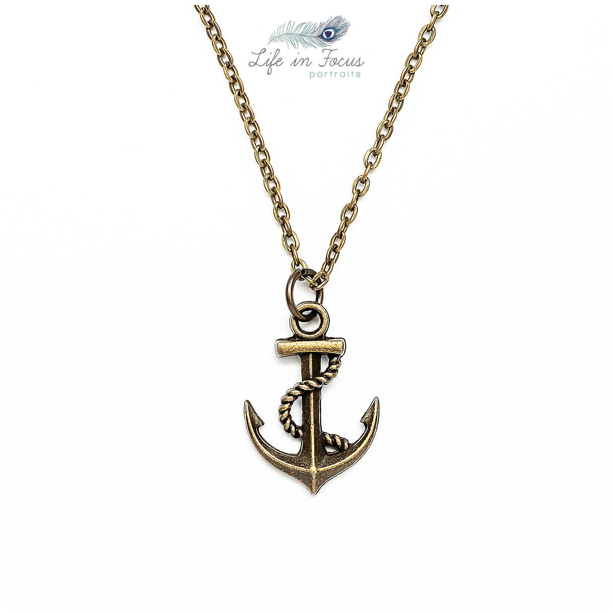 anchor necklace photo on white background for small business ecommerce website Life in Focus Portraits photography for small independent crafters Helensburgh artisans