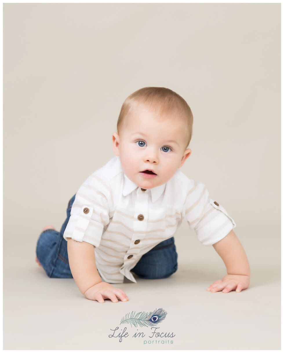 baby crawling towards photographer Life in Focus Portraits baby milestone photoshoots Rhu Helensburgh Cardross