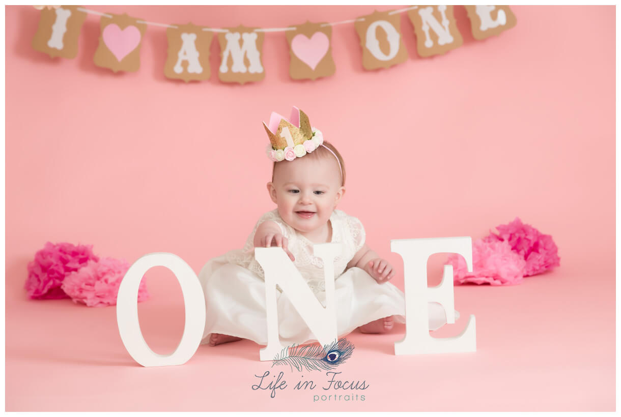 baby girl in crown 1st birthday photoshoot Life in Focus Portraits Helensburgh baby photographer