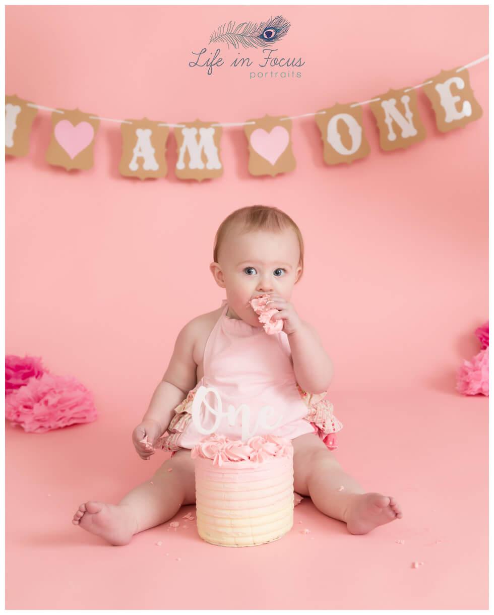 baby girl pink themed cake smash Life in Focus Portraits baby photographer Rhu Helensburgh Garelochhead