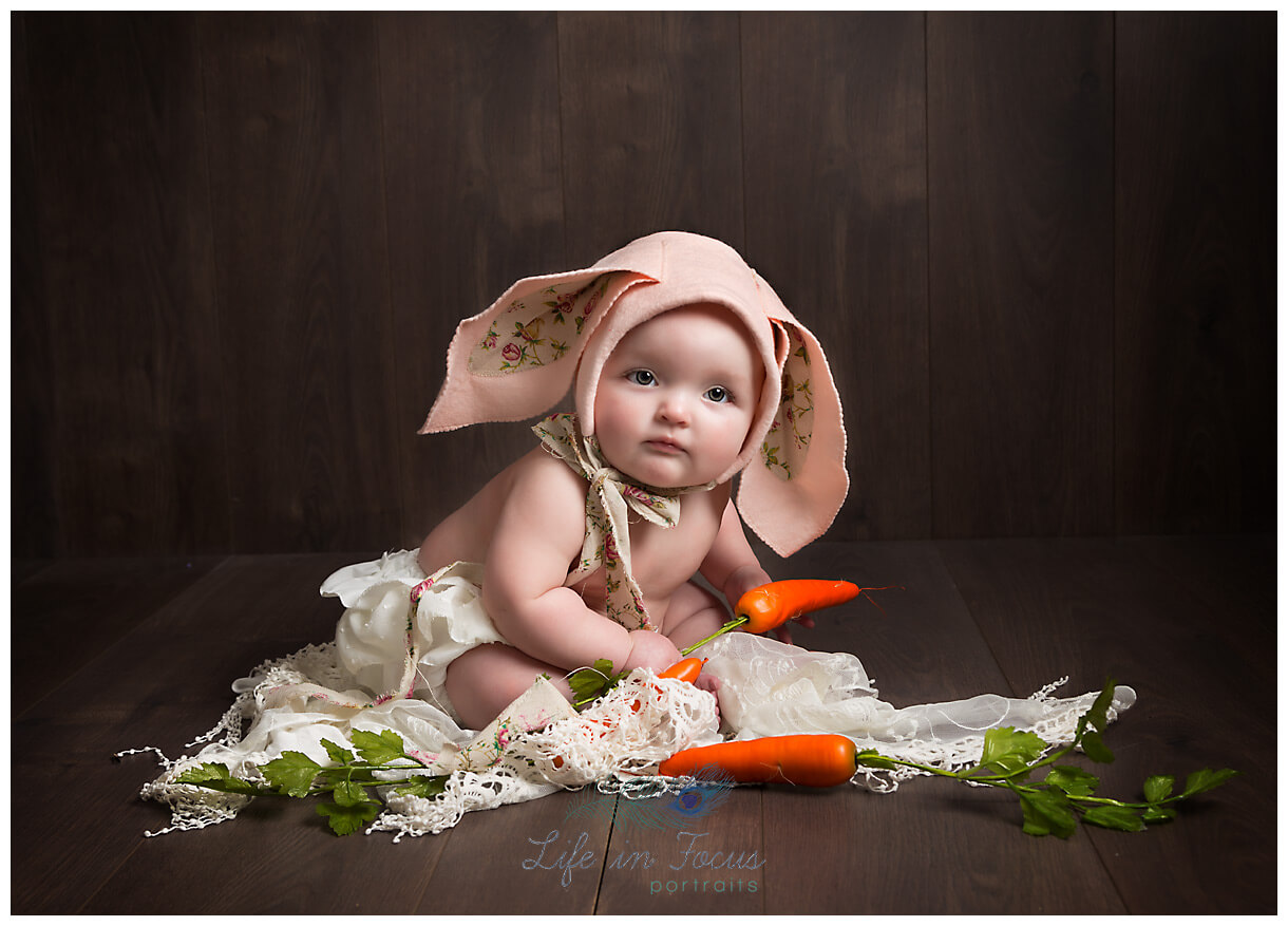 baby in bunny hat easter themed little sitter session Life in Focus Portraits baby photographer Rhu Helesnburgh Cardross