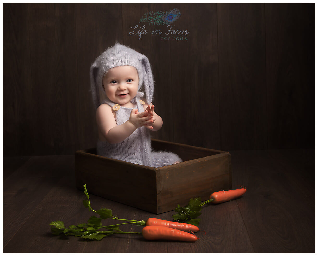 baby in bunny outfit little sitter milestone photoshoot Life in Focus Portraits baby photographer Balloch Alexandria Luss