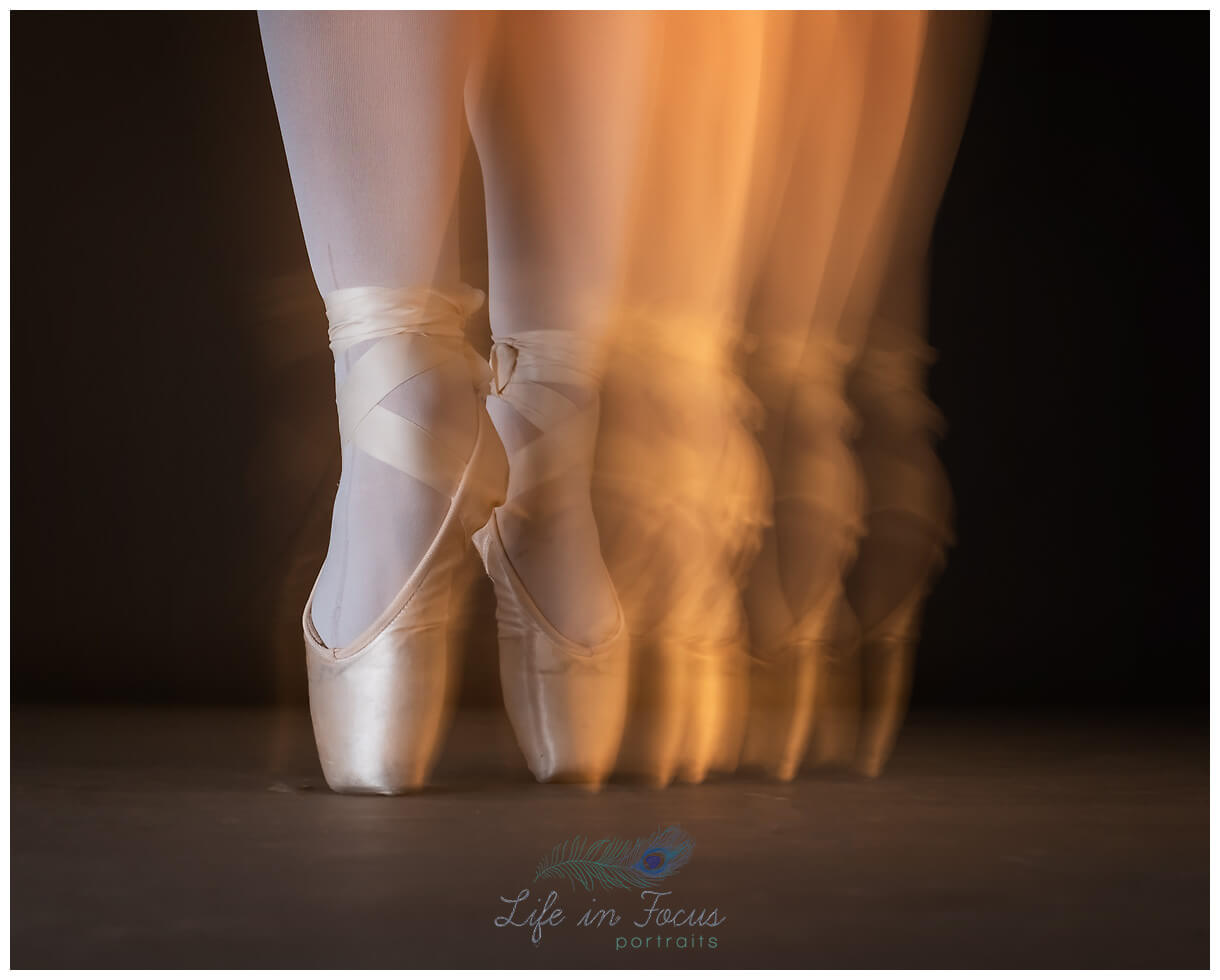 blurred pointe shoes ballerina en pointe Life in Focus Portraits dance photographer Helensburgh Cardross Dumbarton