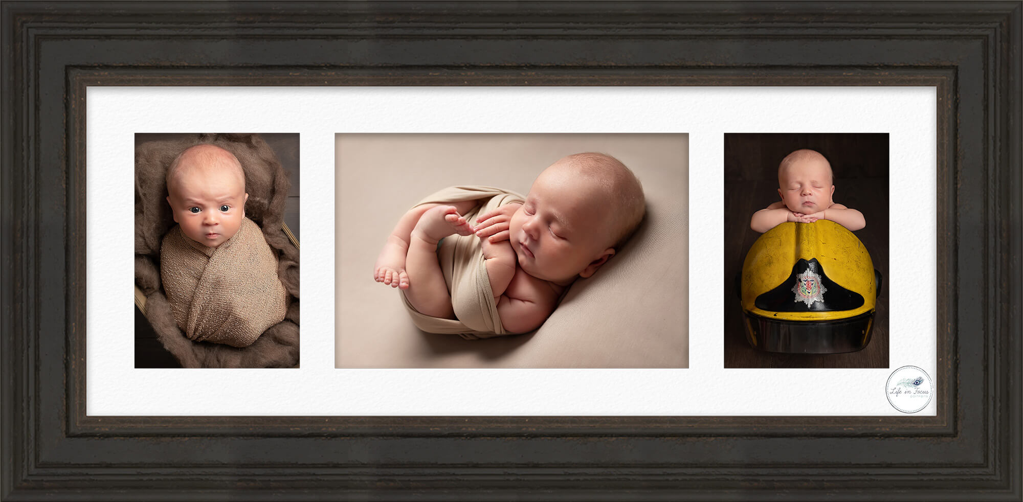 framed baby portraits 3 photos of firefighter's newborn baby boy Life in Focus Portraits newborn baby photography studio Rhu Helensburgh