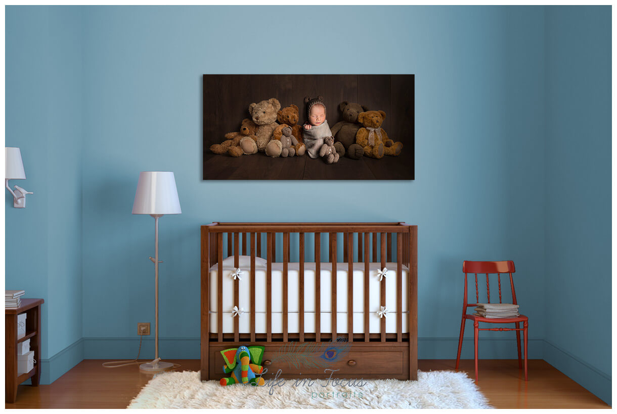 newborn baby canvas wall art in nursery Life in Focus Portraits newborn baby photos Rhu Helensburgh