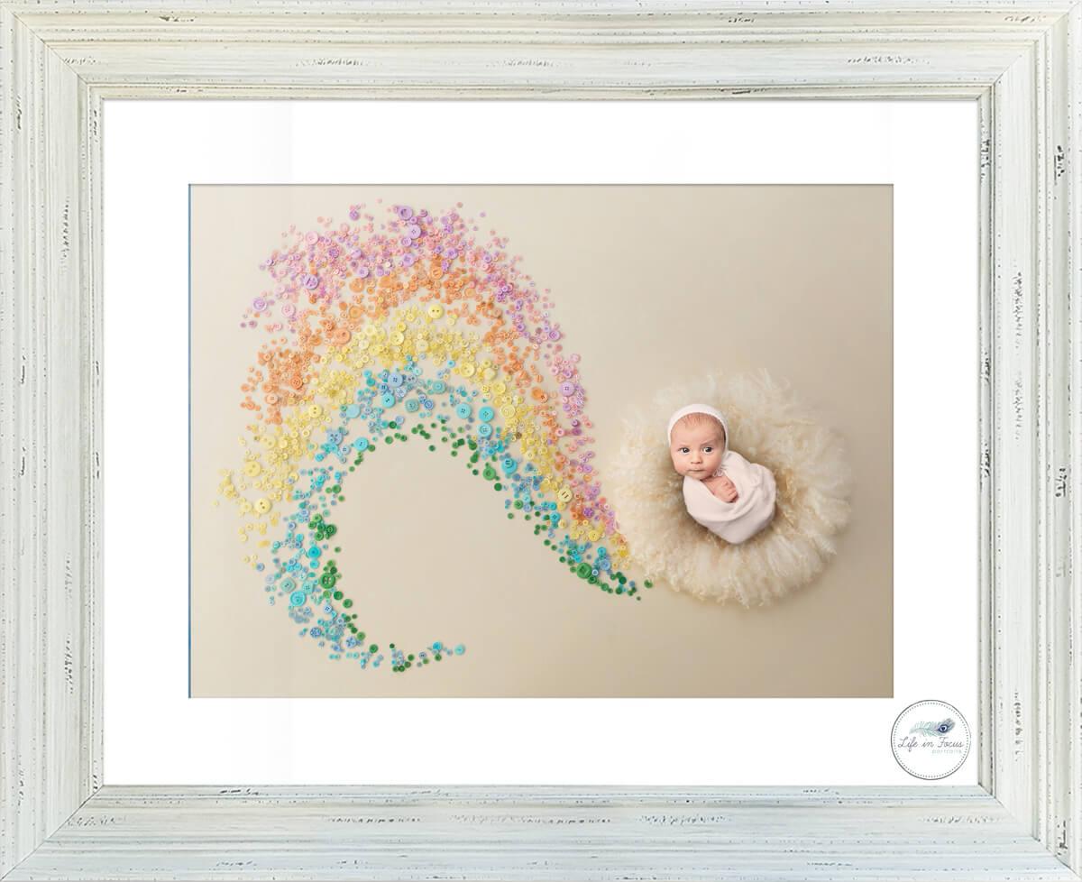 newborn baby in rainbow background photoshop art Life in Focus Portraits newborn baby photographer Cardross Dumbarton
