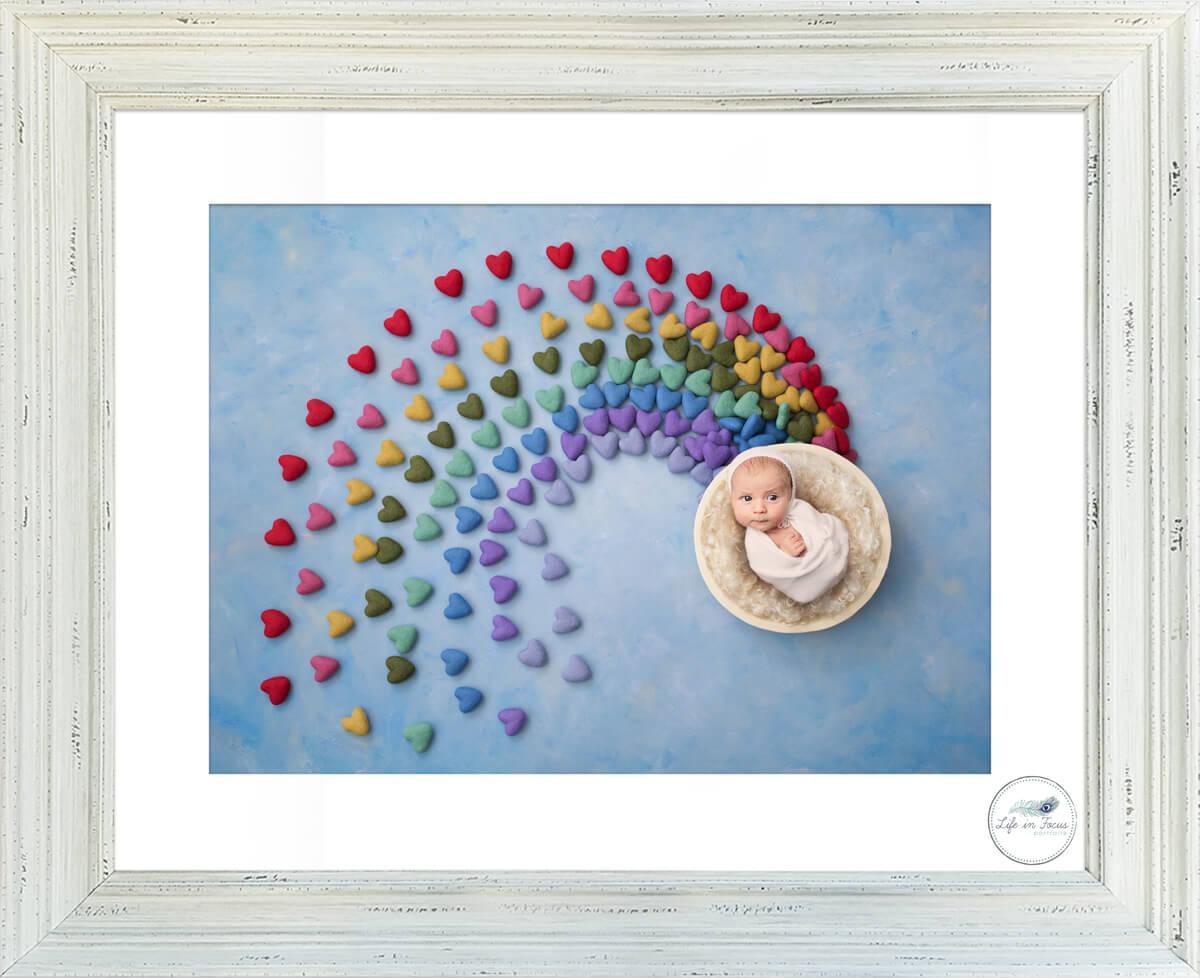 newborn baby photo in rainbow digital background Life in Focus Portraits newbonr baby photos Balloch Alexandria Luss