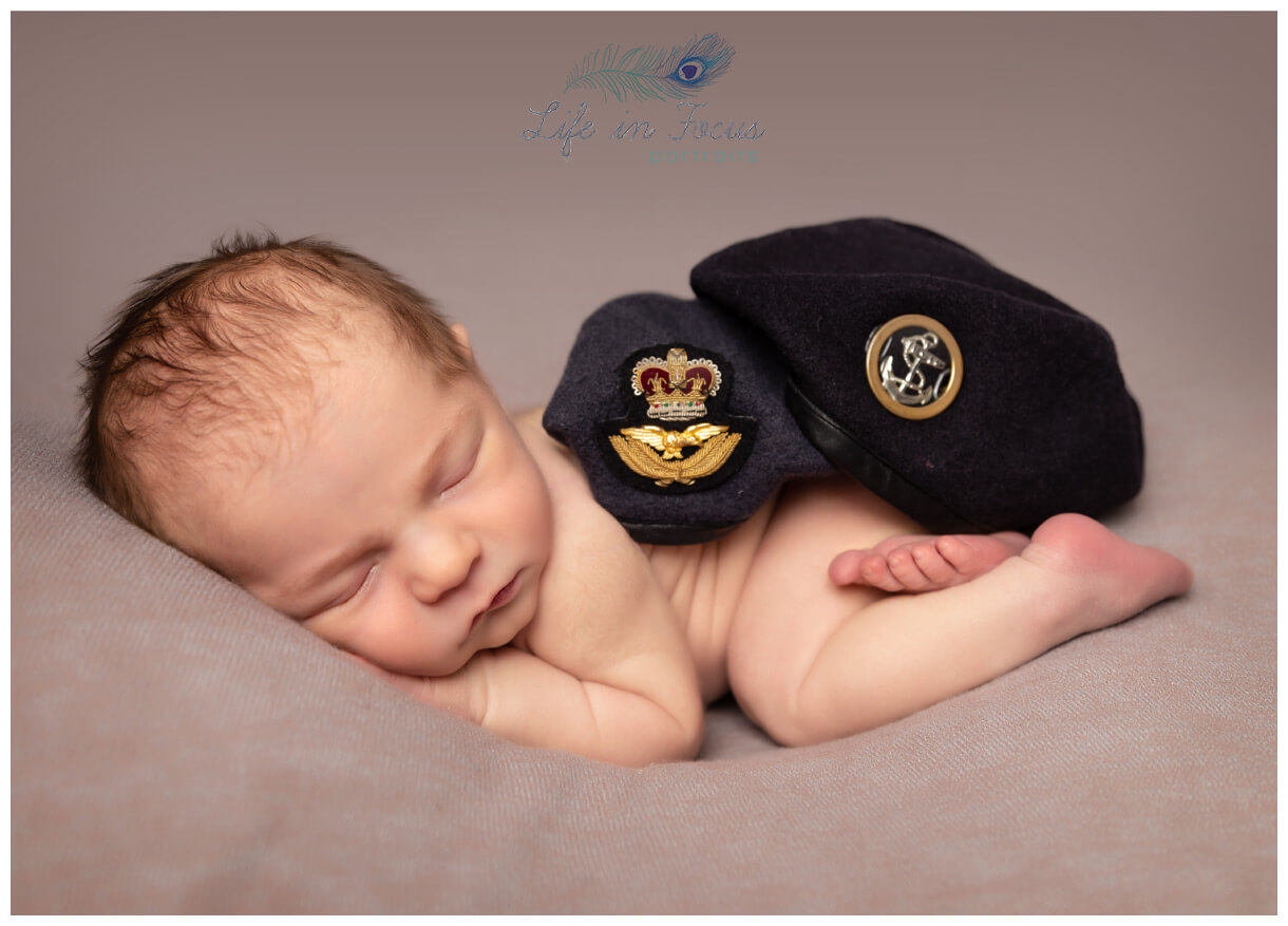 newborn baby with Royal Navy and RAF berets Life in Focus Portraits specialist newborn baby photographer Faslane Helensburgh