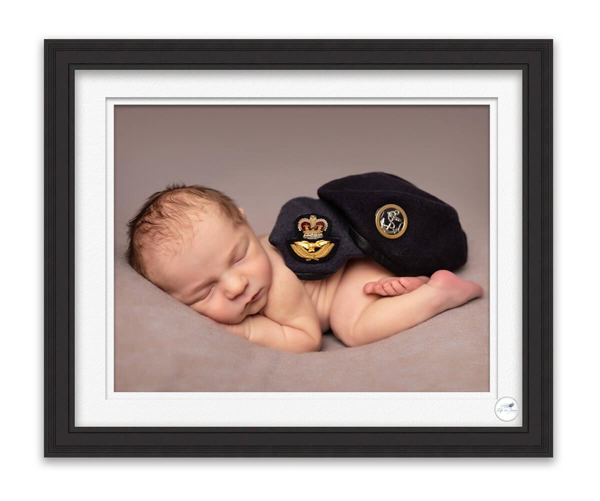 newborn baby with royal navy beret and RAF beret Life in Focus Portraits newborn baby photo studio Faslane Naval Base Helensburgh