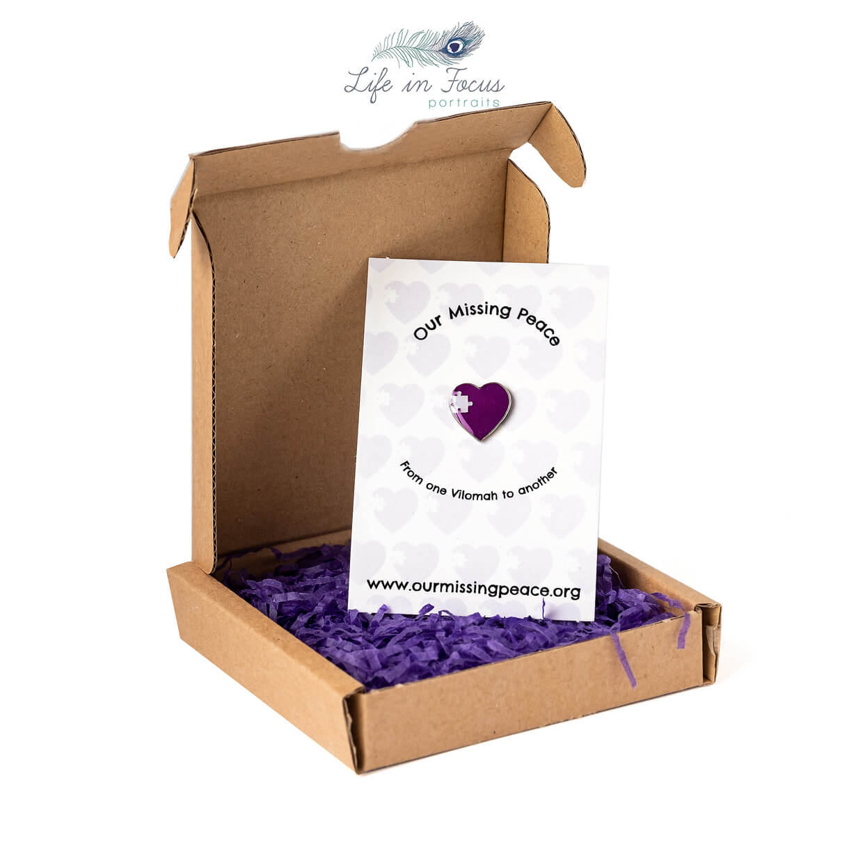 product photography charity pin in box on white background Life in Focus Portraits photography studio Rhu Helensburgh