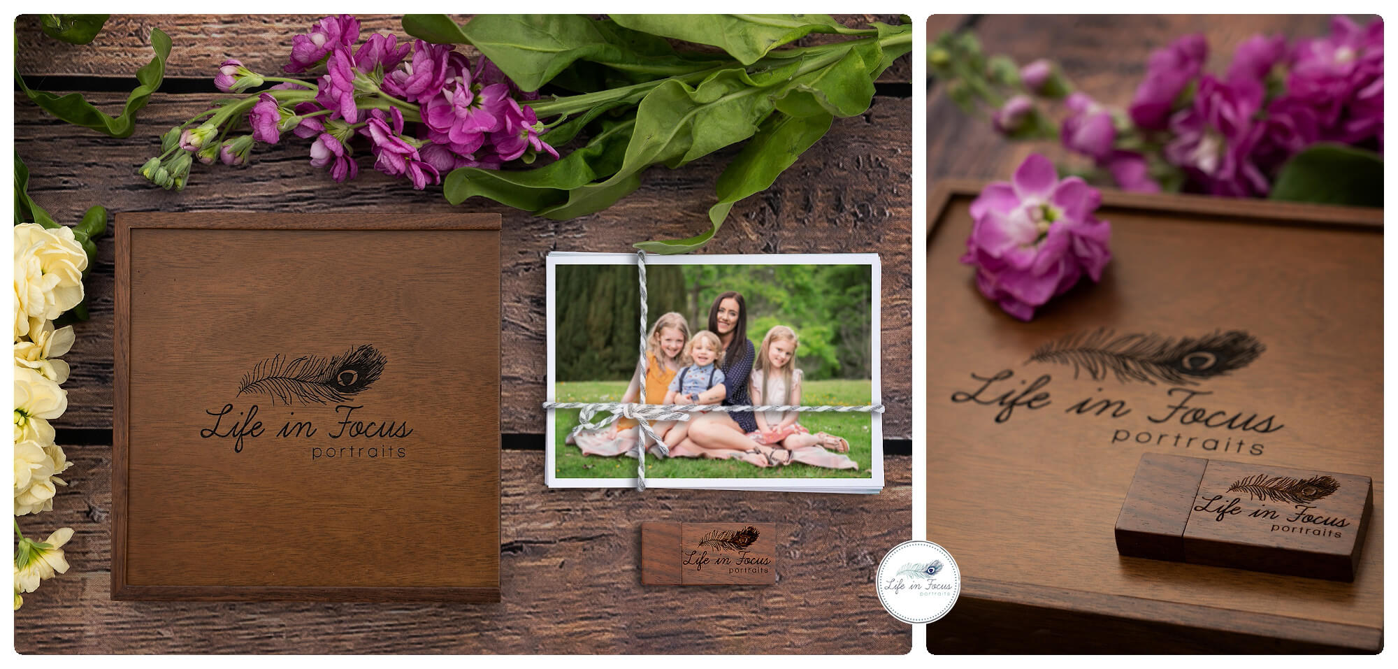 product photos of walnut box and USB Life in Focus Portraits Digital Collection all images on USB with full set of prints Family photoshoots Helensburgh