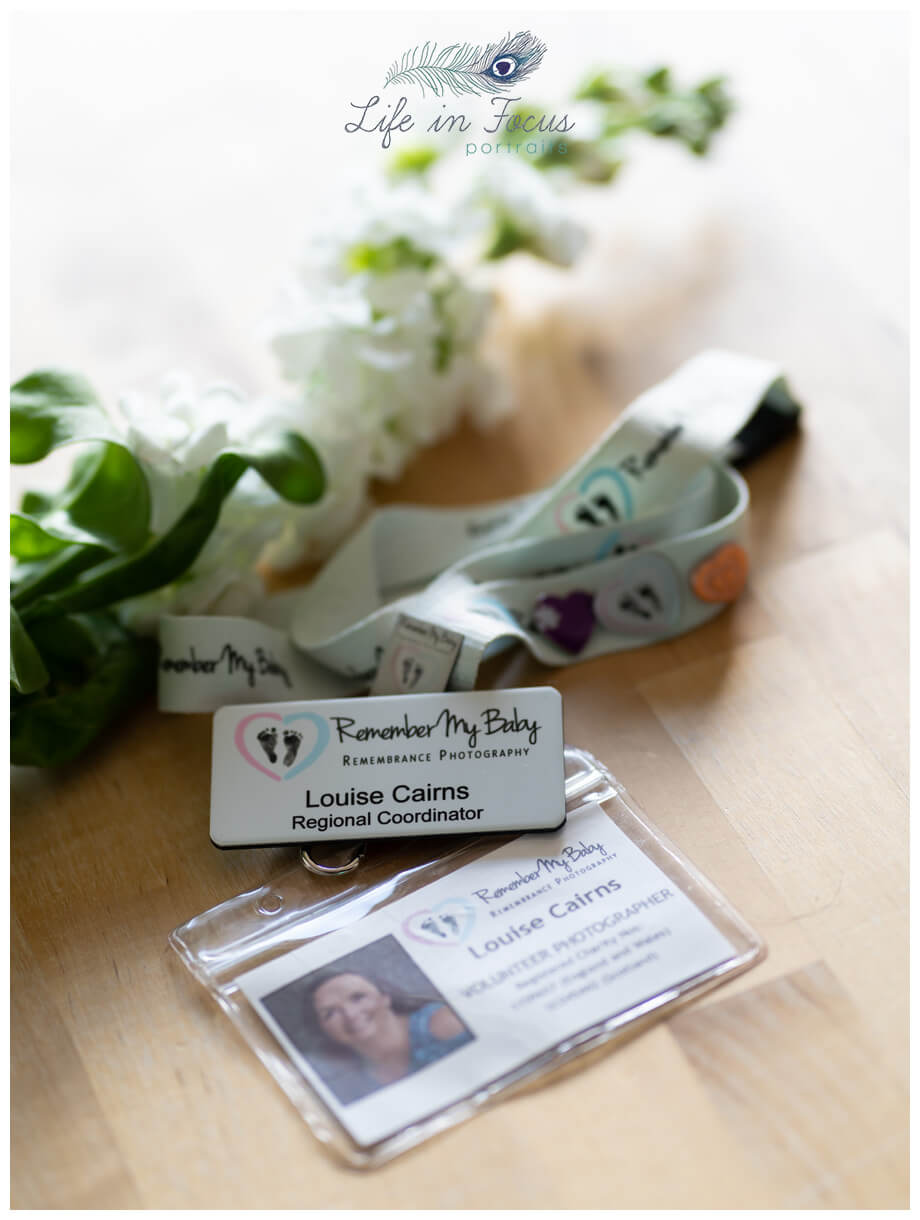 photo of Remember my Baby volunteer badge Life in Focus Portraits baby photographer Helensburgh