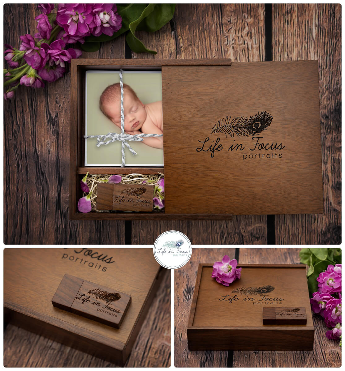product photos walnut slide top box with USB and prints Life in Focus Portraits digital collection Newborn baby photographer Rhu Helensburgh