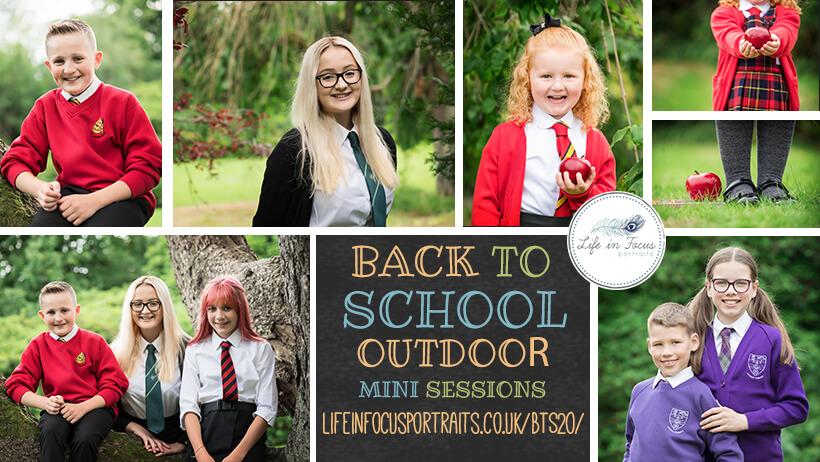collage of outdoor photos of children in school uniform back to school photos Life in Focus Portraits school photography Rhu Helensburgh