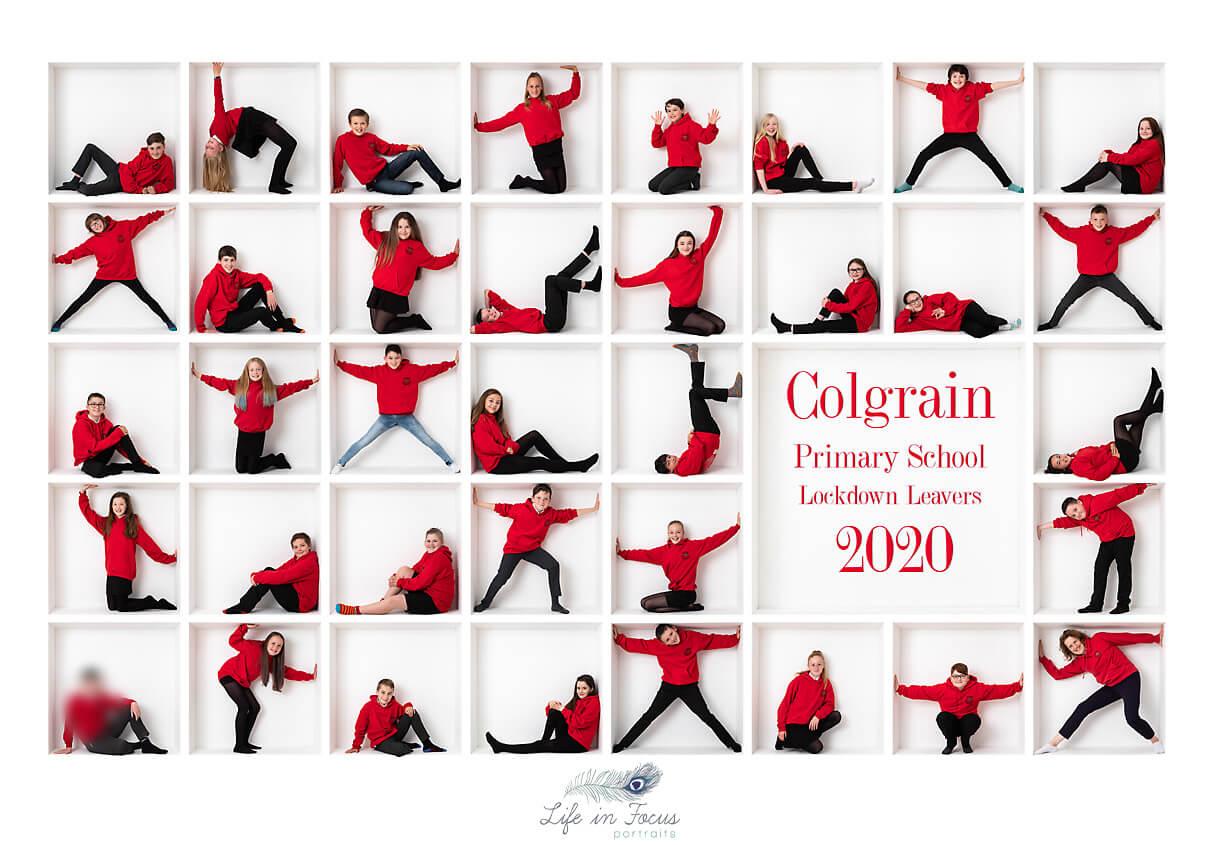 Colgrain Primary School class photo in leavers hoodies Life in Focus Portraits school photographer Helensburgh
