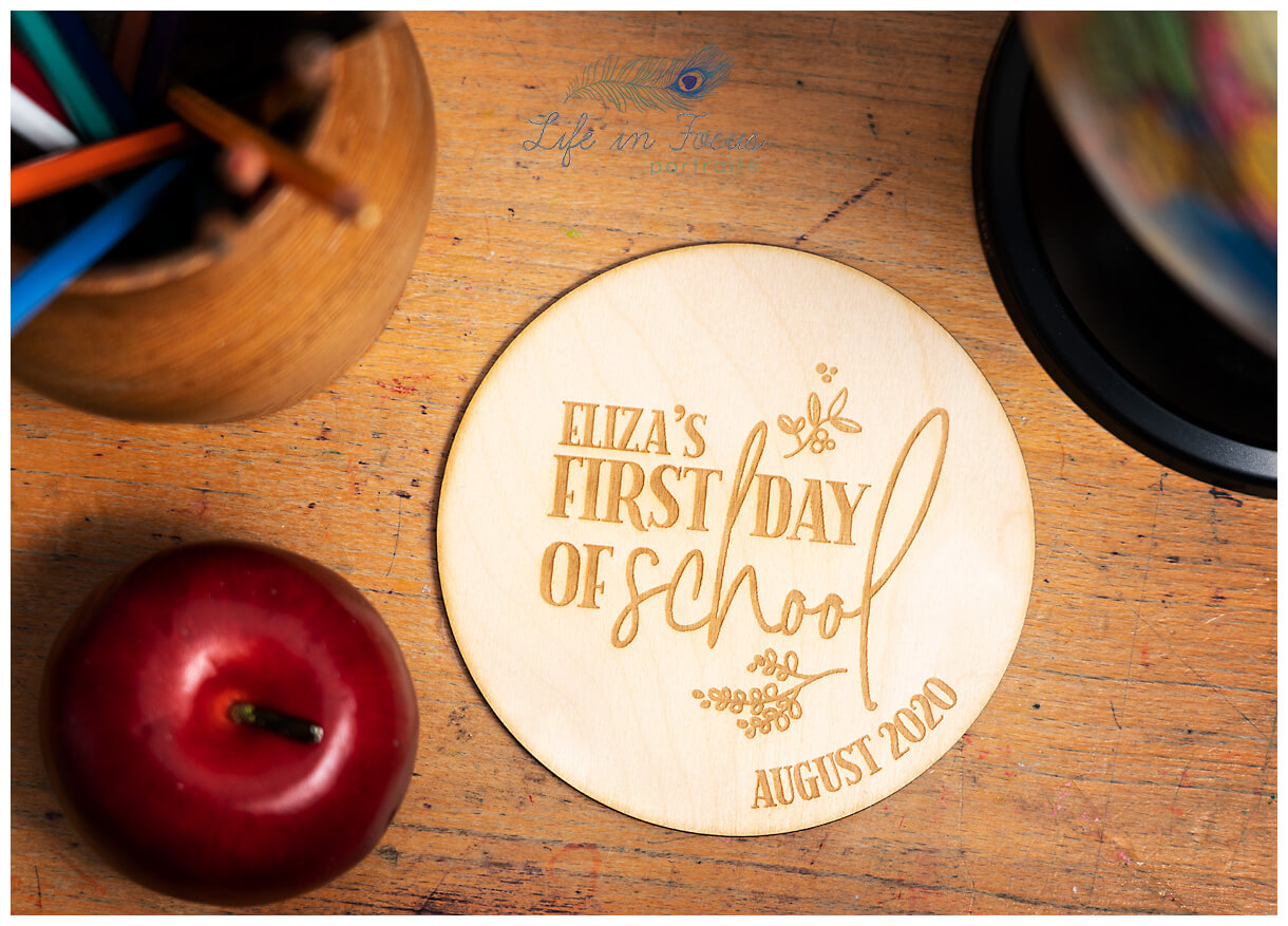 Back to School plaque product photography for small independent crafters Life in Focus Portraits commercial photography Helensburgh
