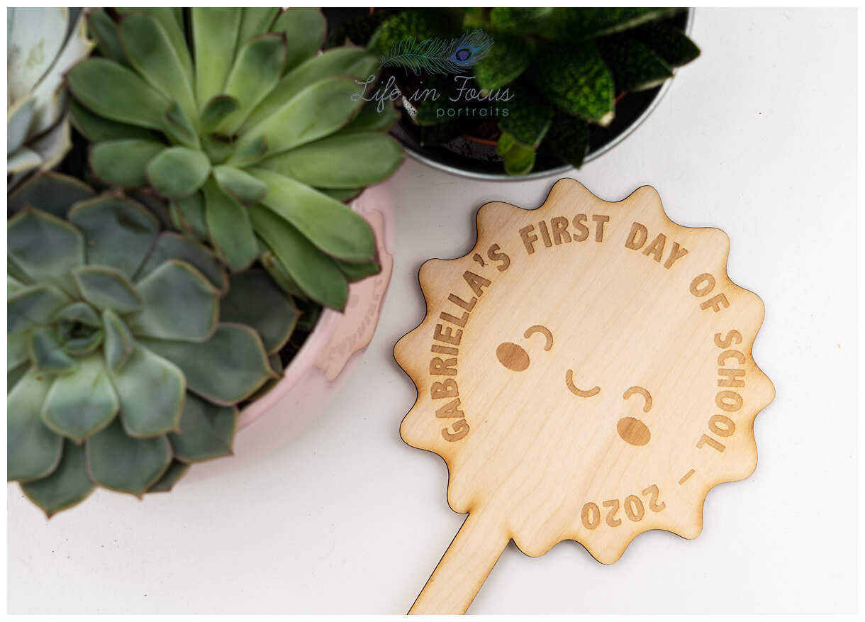 Product photo of First Day of School plaque Life in Focus Portraits product photographer for Crafters Rhu Helensburgh