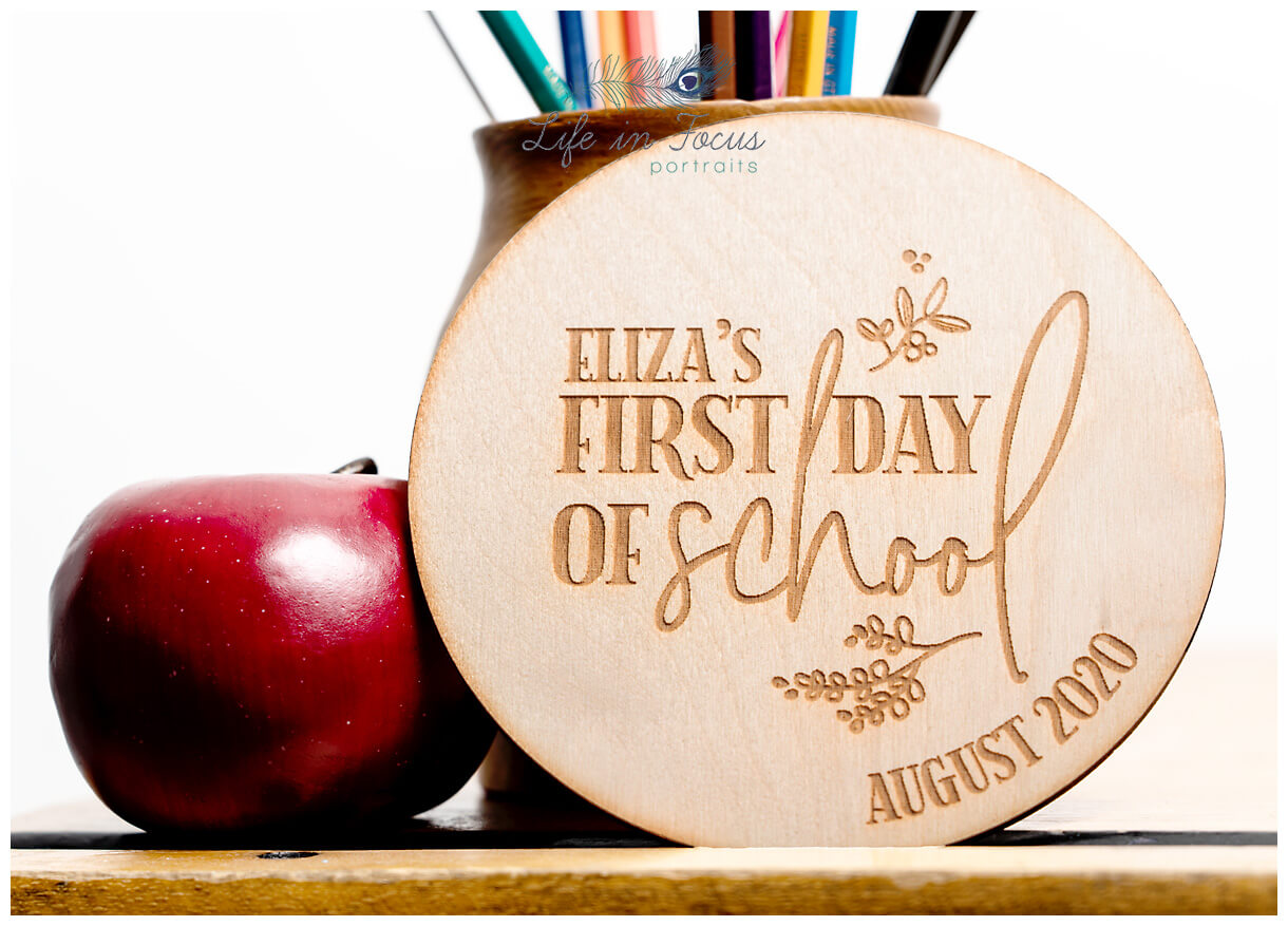 product photo of hand crafted starting school plaque Life in Focus Portraits photography services for small business Argyll and Bute