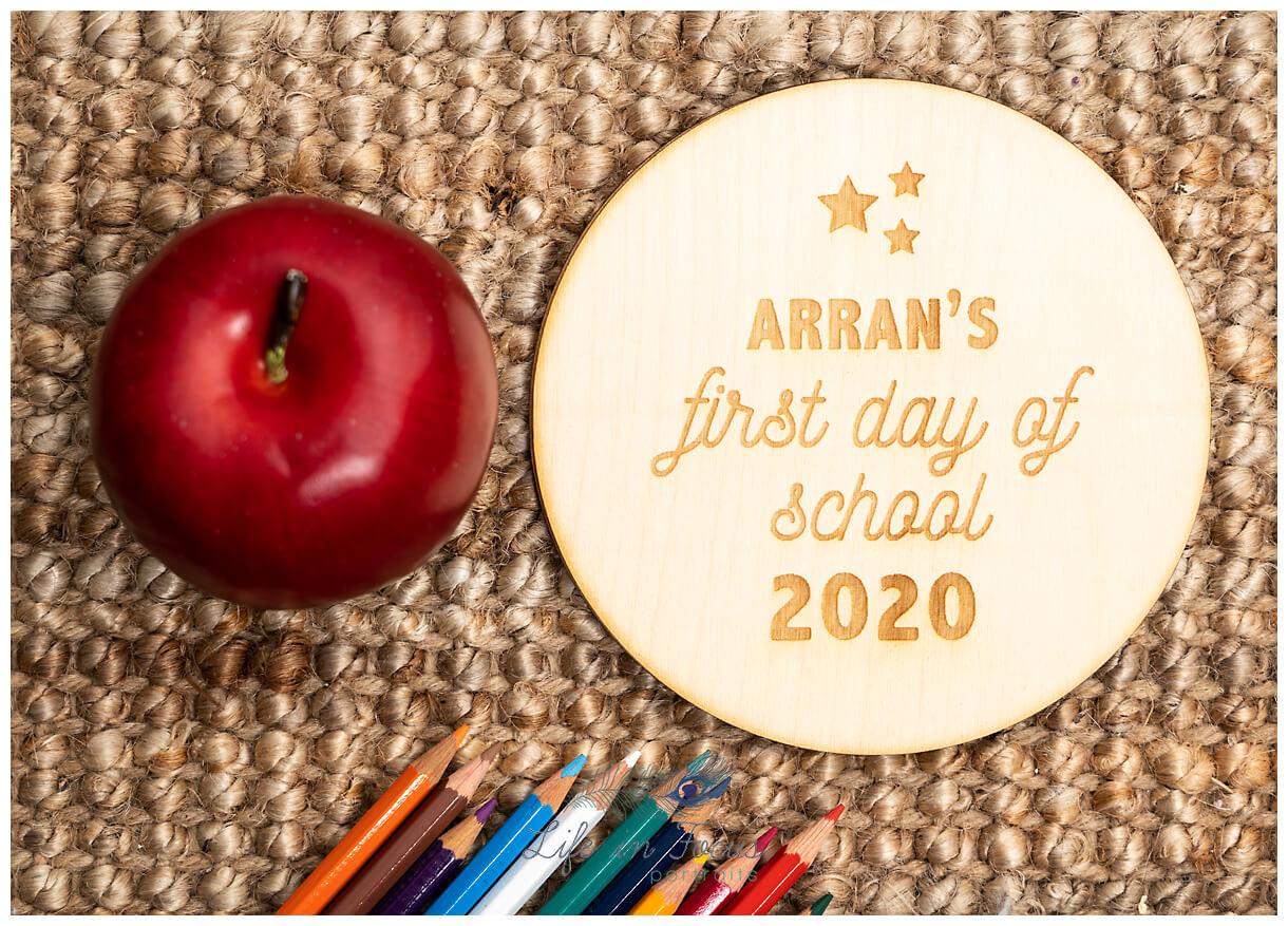 product photo of handmade plaque starting school Life in Focus Portraits commercial product photography for small business Dumbarton