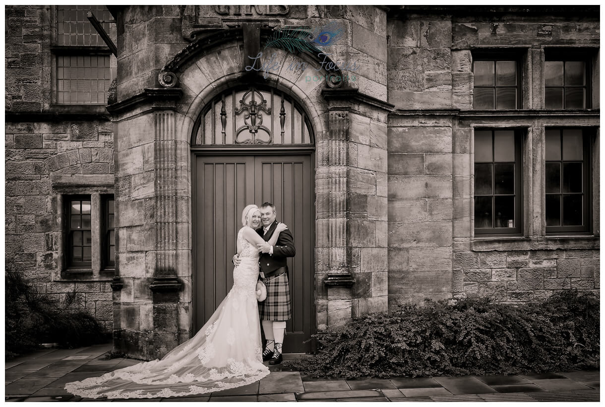 monochrome photograph of bride and groom on wedding day secret elopement wedding in Helensburgh